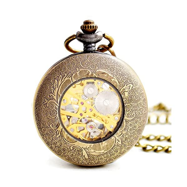 BOSHIYA Mens Vintage Skeleton Pocket Watch Steampunk Windup Half Hunter Mechanism Gear Cover with Chain 5