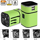 Universal Travel Plug Adapter, Universal Charger International Power Adapter All-in-One Universal International Plug Adapter World Travel Converter 2 USB Ports(Green)
