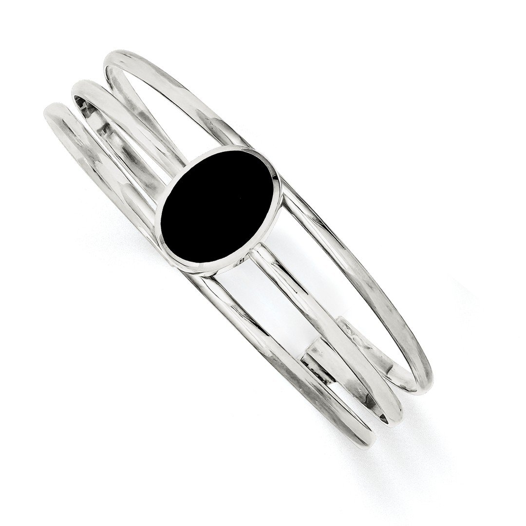 ICE CARATS 925 Sterling Silver Black Onyx Three Strand Cuff Bangle Bracelet Expandable Stackable Fine Jewelry Gift Set For Women Heart