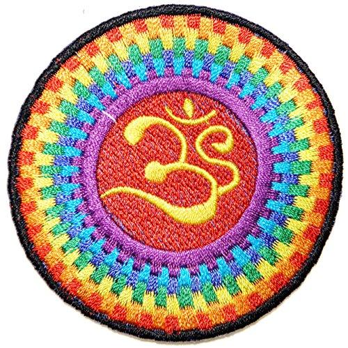 Aum Om Ohm Hindu Yoga Indian Lotus Lucky Sign Logo Hippie Retro Biker Jacket T-shirt Vest Patch Sew Iron on Embroidered Badge (Hindu Halloween Costumes)