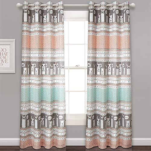 Room Decor Pattern - Lush Decor Llama Stripe Curtains Pattern Room Darkening Window Panel Set for Living, Dining, Bedroom (Pair), 84