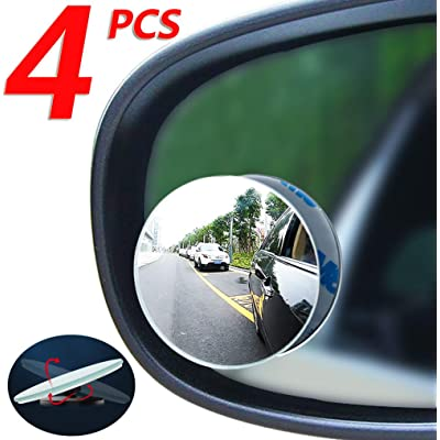 Car Blind spot Mirror 4pcs, Convex Mirror, Round Frameless HD Wide-Angle Glass Rearview Mirror, 360 ° Swing Adjustment, Suitable for All Cars, SUV and Trucks: Car Electronics