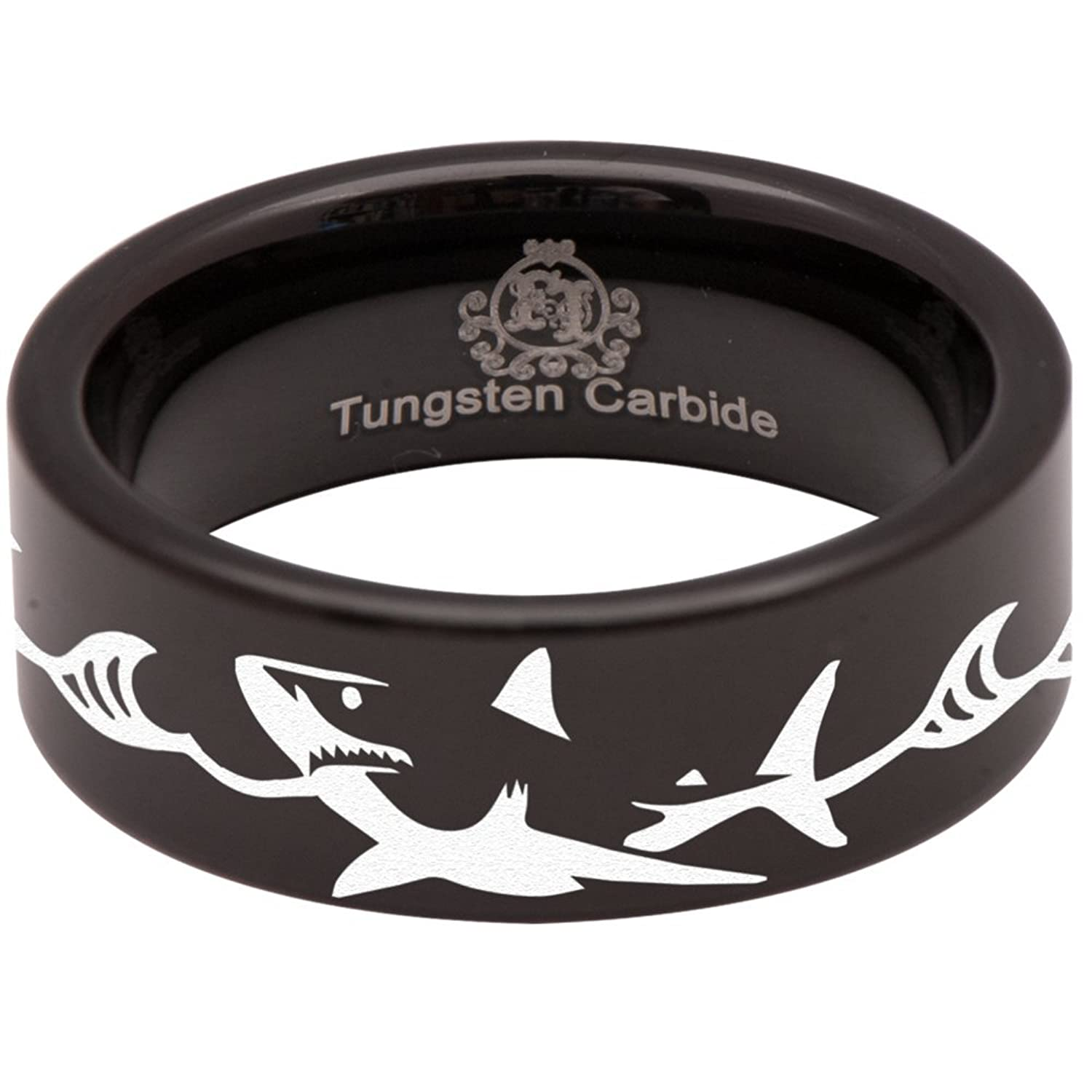 Friends of Irony Tungsten Carbide Shark Ring Animal Inspired Wedding Band Anniversary Ring for Men and Women 8mm
