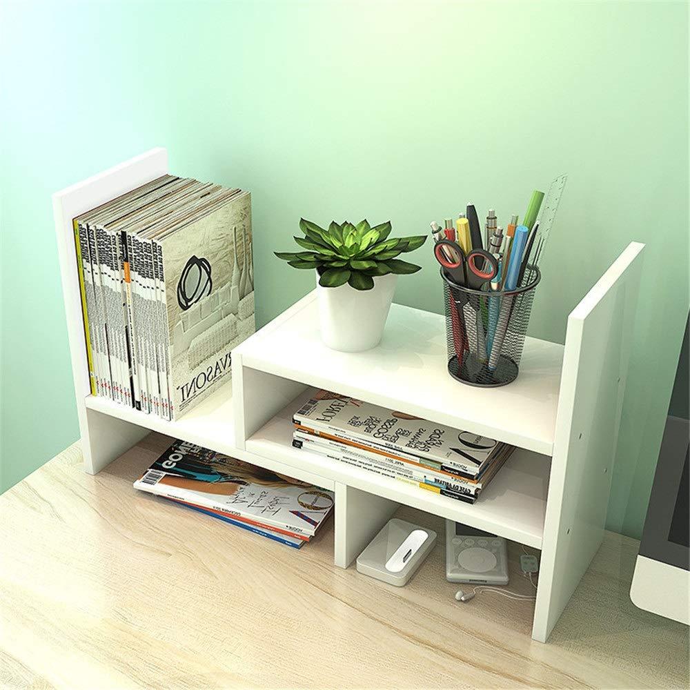 本棚 調節可能な自立天然木デスクトップ収納オーガナイザーディスプレイ棚ラックカウンタートップ書棚 CD、映画、書籍のホルダー (色 : 白, サイズ : 41-78*16*44cm) 41-78*16*44cm 白 B07T4KKXJ8