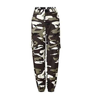 ecf9acc4577c2 JLTPH Femme Pantalon à Imprimé Camouflage Casual Loose Sports Jogging Pants Taille  Haute Trousers Jeans Cargo