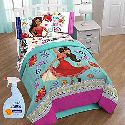 "Disney Elena of Avalor ""Dancing Script"" Kids Bedding Comforter Set with Fabric Refresher"
