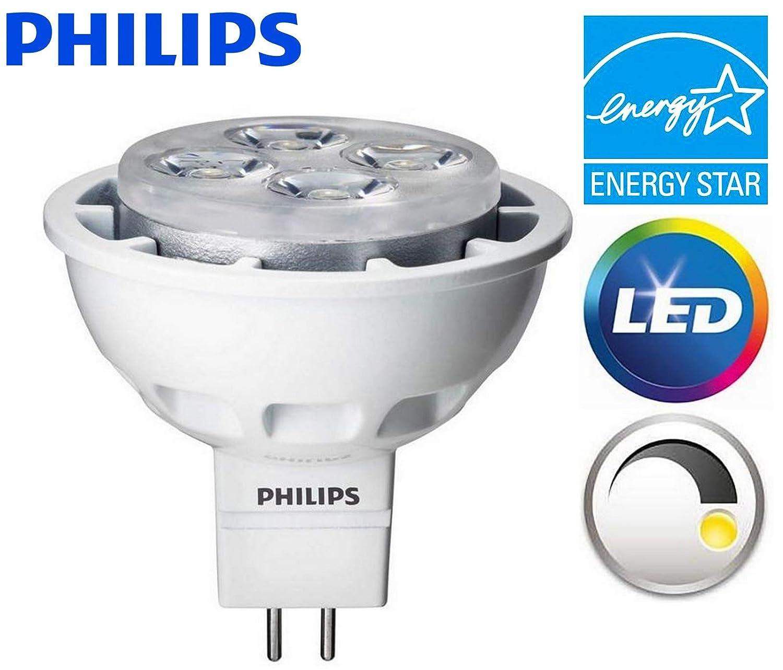 1 Pack Philips LED MR16 Dimmable Flood & Landscape Light Bulb: 450-Lumens 3000K 6.4-Watt (35-Watt Equivalent) GU5.3 Bi-Pin Base Bright White Light ...