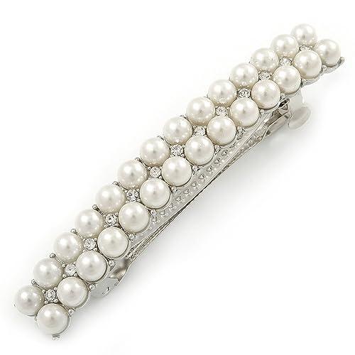 Avalaya Bridal Wedding Prom Silver Tone 2 Row Pearl, Crystal Barrette Hair Clip Grip - 80mm W