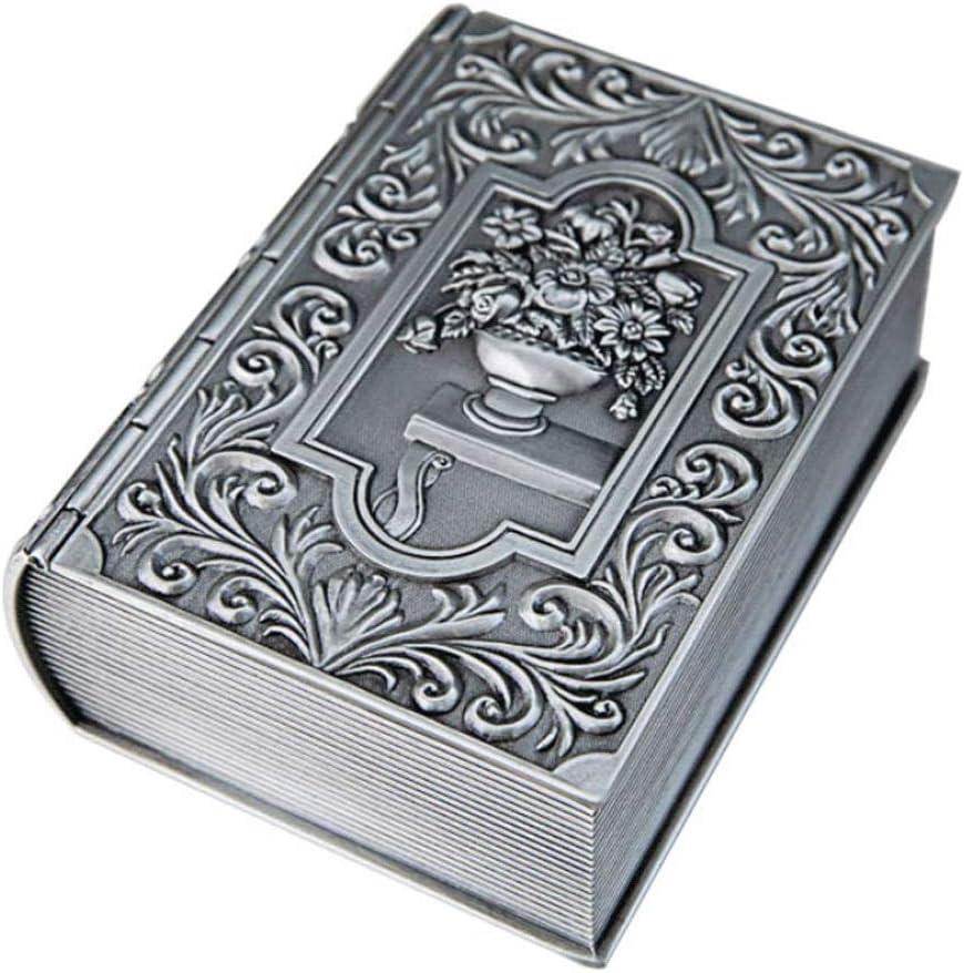 Caja De Joyería De La Vendimia Forma De La Caja De La Caja De Joyería Contenedor De Plata Metal Antiguo Anillo/Pendientes