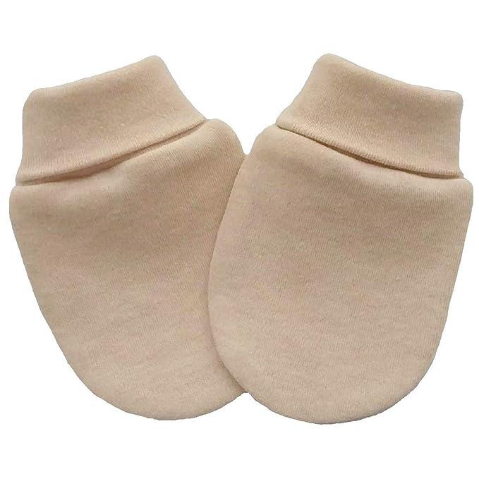 Manoplas anti arañazos para bebé orgánico del algodón recién nacido, color marrón claro