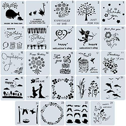 24ピース 透かし彫りペイントモールドキット プラスチック正方形テンプレート 子供の描画アート ノート 日記 雑誌 スクラップブック DIY 図面テンプレート