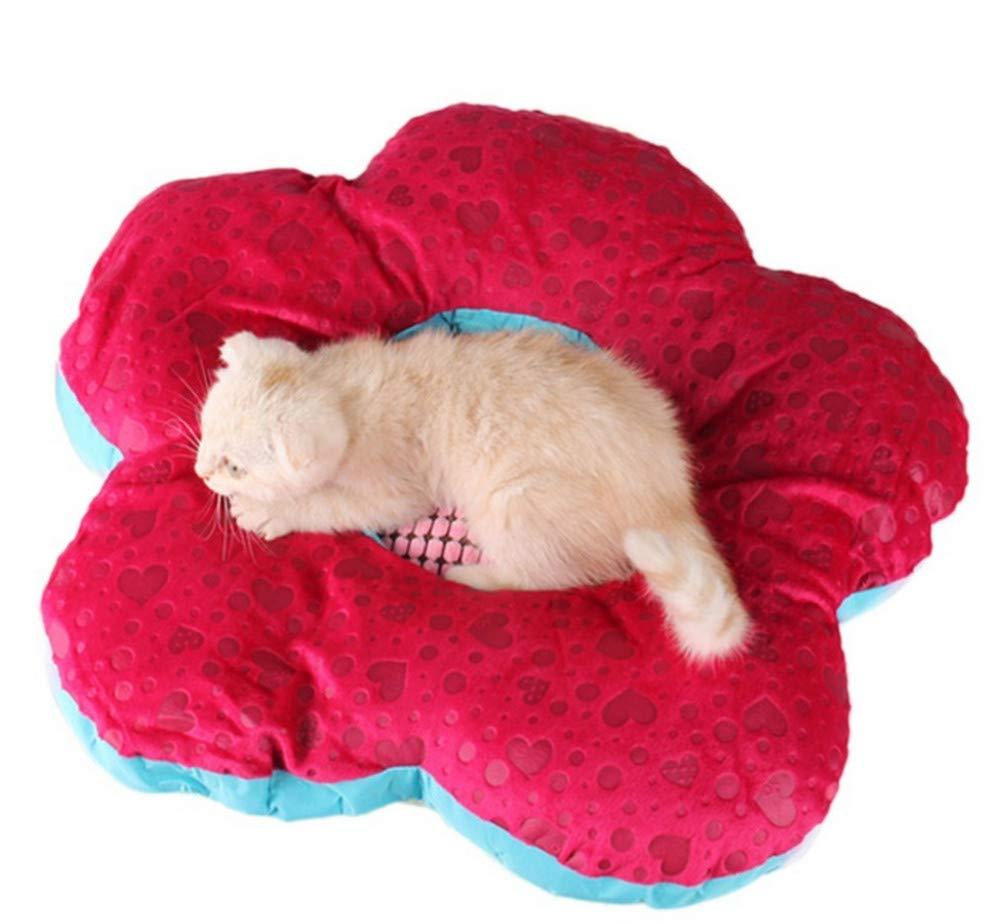 Wuwenw Lindo Suave Colorido Perro Gato Cama Perrera De Moda Flor Cálida Estera del Perro Princesa Cachorro Cama Mascota Nido Cómodo Cat House Rojo, S
