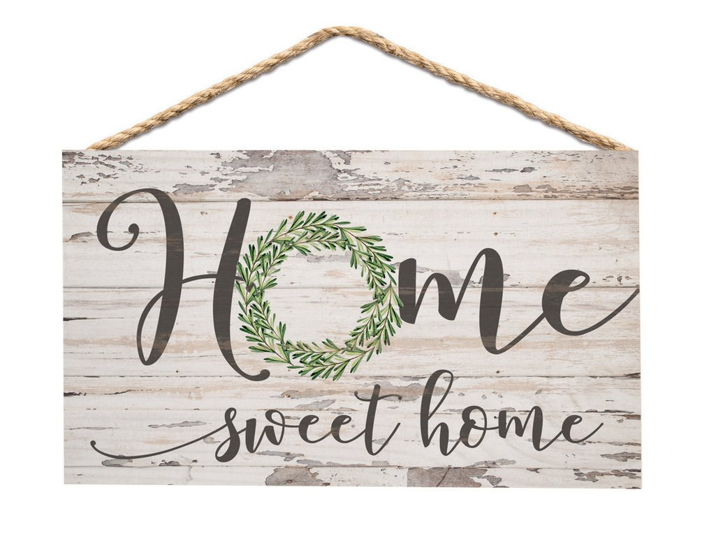 Home Sweet Home Whitewash 6 x 3.5 Wood Mini Wall Hanging Plaque Sign