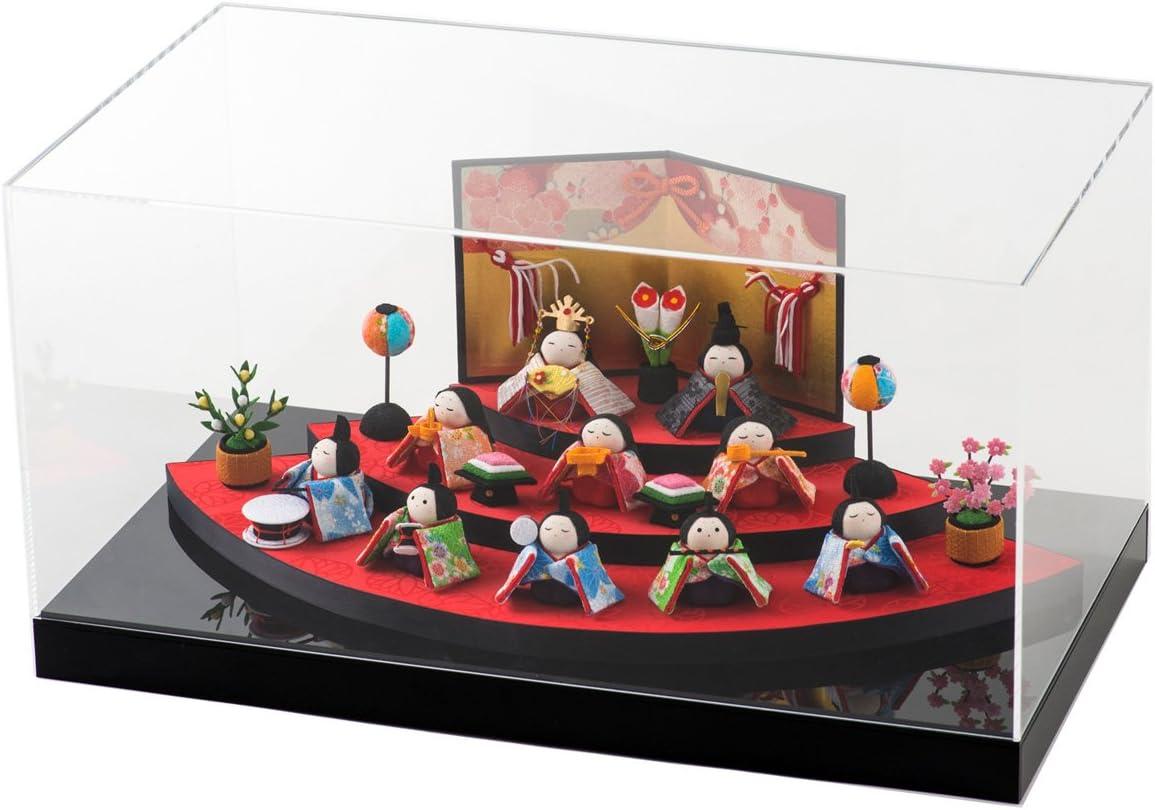 ひな人形 雛人形 ケース飾り 扇面三段わらべ雛10人揃い 間口45x奥行24x高さ15.5cm