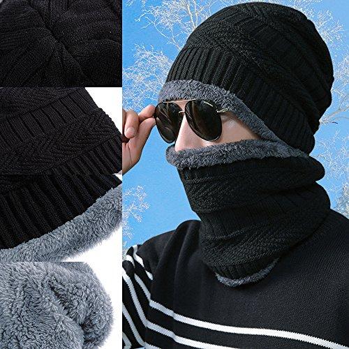 de y Rovtop Sombreros Gorras 1 Vestir Hombres con Bufanda de con Sombrero Punto Cuello 2 en los Hombre de y Invierno Exteriores Gorros de YCC7wAq4x