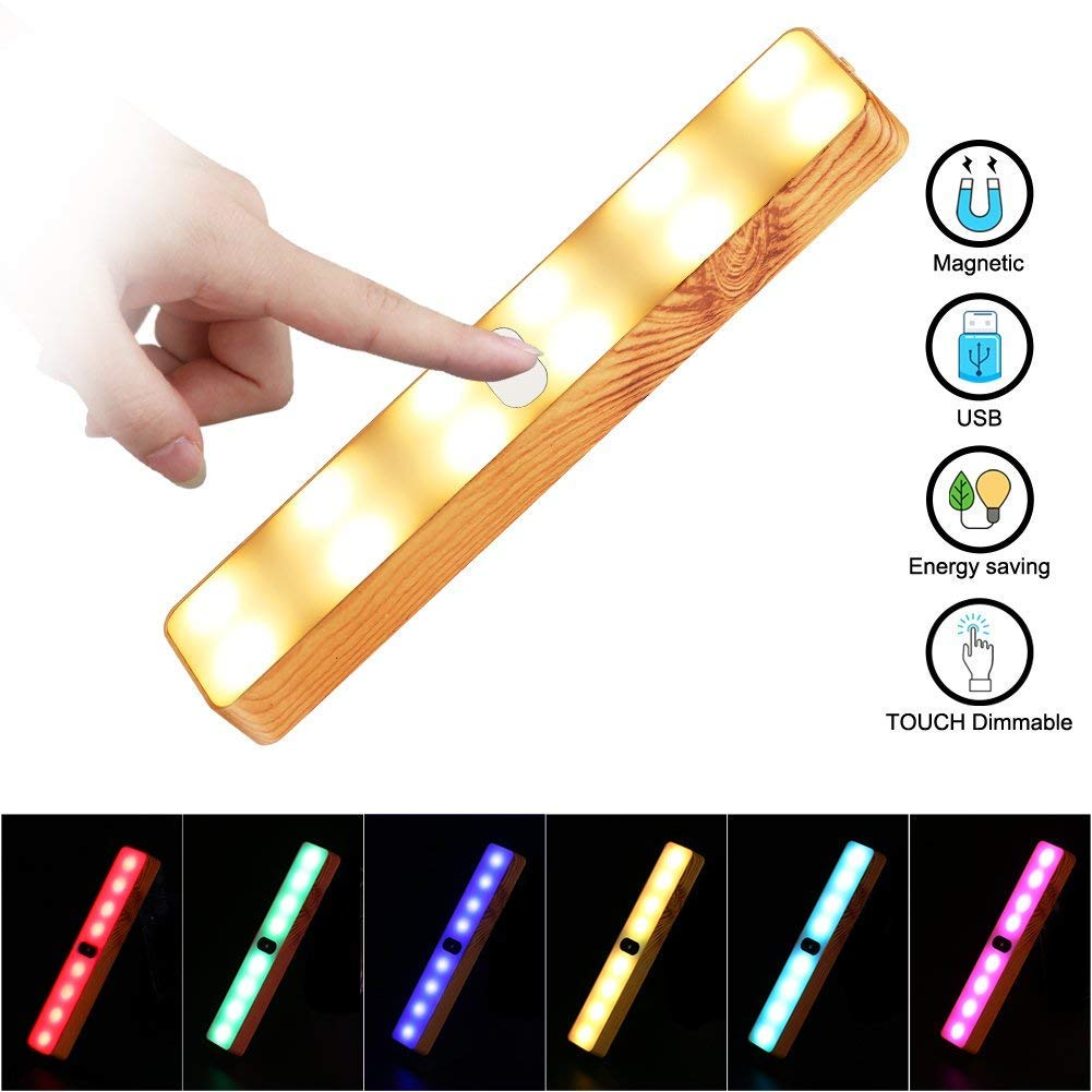 Foreita Portable Cabinet Lamp with 7 Colors LED Light,Stick-on Anywhere Cabinet Lighting USB Charging Night Light Bar with Magnetic Strip for Cabinet Wardrobe Stairs Outdoor Tent