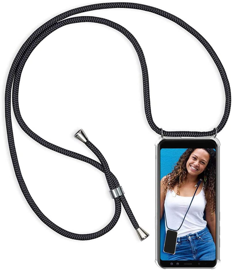 Funda Colgante movil con Cuerda para Xiaomi Redmi Note 8, Carcasa Transparente de TPU con Ajustable Cordón [Anti-Choque] Anti-rasguños Suave Silicona Caso - Negro