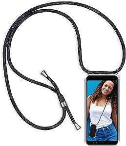 Funda Colgante movil con Cuerda para Xiaomi Redmi Note 7, Carcasa Transparente de TPU con Ajustable Cordón [Anti-Choque] Anti-rasguños Suave Silicona Caso - Negro