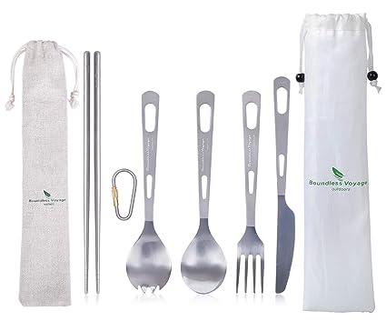iBasingo Set De Vajilla De Titanio Cuchillo Tenedor para ...