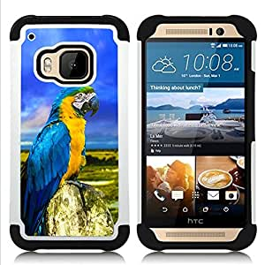 BullDog Case - FOR/HTC ONE M9 / - / SUMMER PARROT FEATHERS BLUE COLORFUL /- H??brido Heavy Duty caja del tel??fono protector din??mico - silicona suave