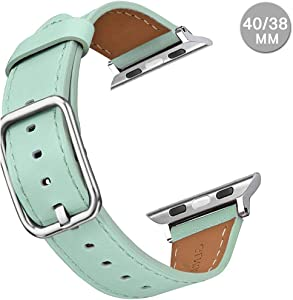 Compatible with Apple Watch Leather Band 42mm 44mm 38mm 40mm | Genuine Leather Replacement Band | Series 5 4 3 2 1 (Square-SoftGreen, 40mm/38mm)