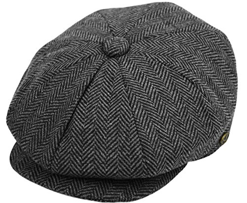 - Men's Wool Newsboy Cap, Herringbone Driving Cabbie Tweed Applejack Golf Hat (2317-Gray, Medium)
