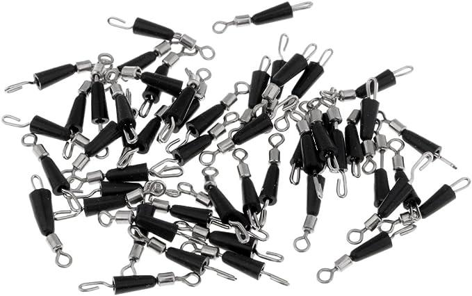 100x L Girelle da Pesca Gancio Attacco Rapido con Clip freneci 100 Pezzi in Metallo M