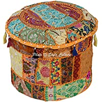 Stylo Culture Cotton Tuffet Hassock 16 Patchwork Embroidered Ottoman Stool Pouf Cover Yellow Floral Footstool Floor Cushion Cover Ethnic Decor