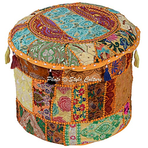 Stylo Culture Round Cotton Vintage Patchwork Embroidered Ottoman Stool Pouf Cover Yellow Floral Indian Decor Living Room Case Bean Bag Home