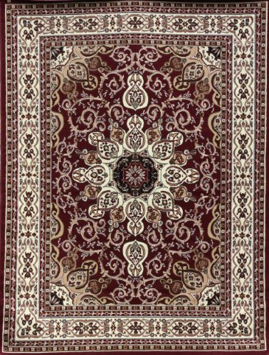 Traditional Isfahan Persian Area Rugs Red Burgundy 5