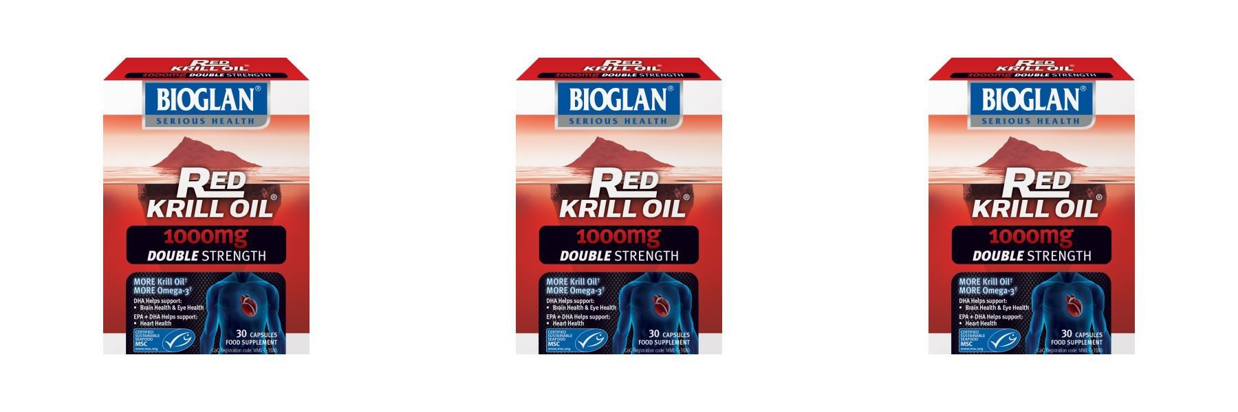 (3 PACK) - Bioglan Red Krill Oil 1000Mg Capsules - Double Strength | 30s | 3 PACK - SUPER SAVER - SAVE MONEY