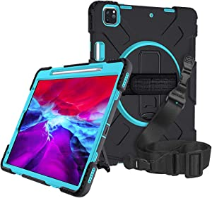 A-BEAUTY Case Cover for iPad Pro 12.9 (4th Generation) 2020 Release, with [Screen Protector] [Stylus Pen] [Pencil Holder] [Handstrap Shoulder] [Shockproof] [Kickstand], Mint Green