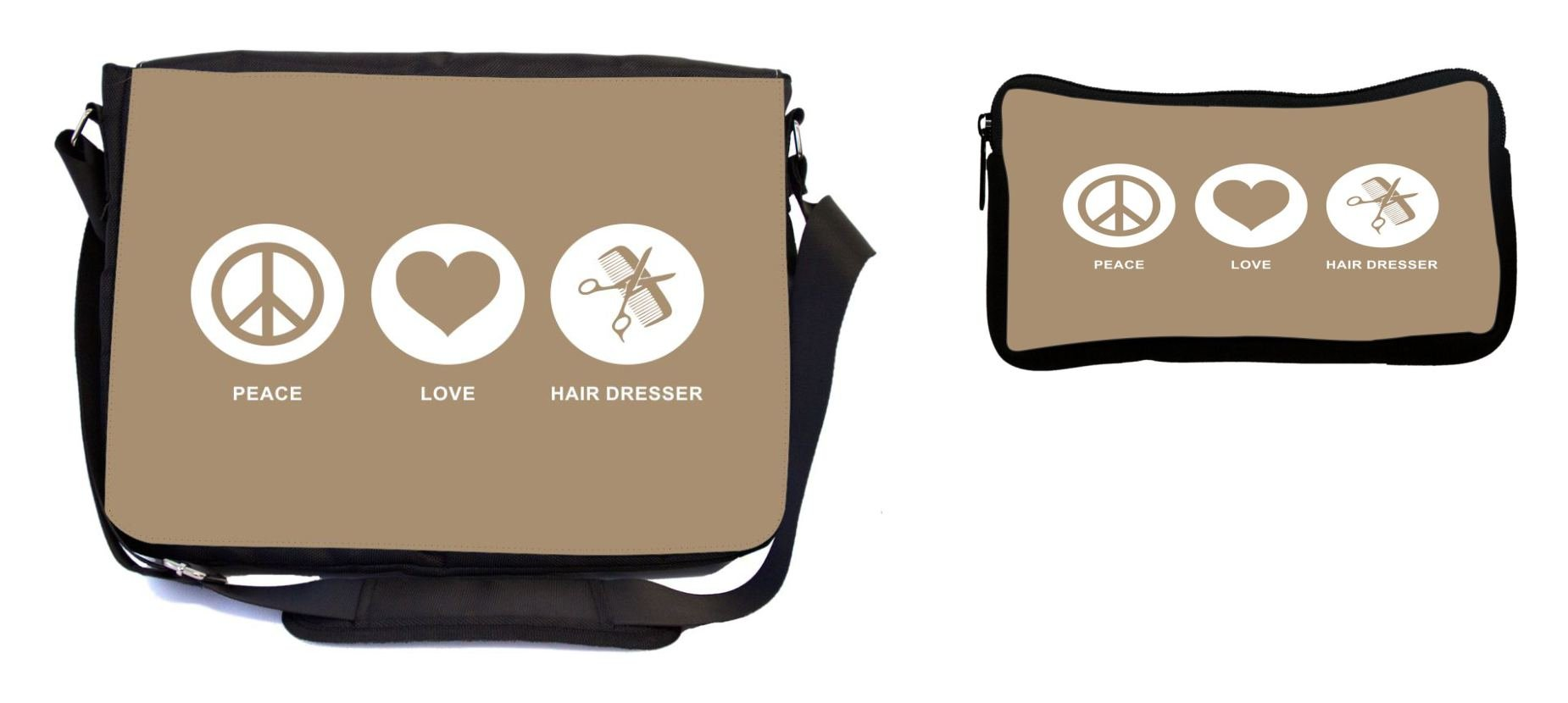 Rikki Knight Peace Love Hair Dresser Brown Color Design Multifunction Messenger Bag - School Bag - Laptop Bag - with Padded Insert for School or Work - Includes Pencil Case