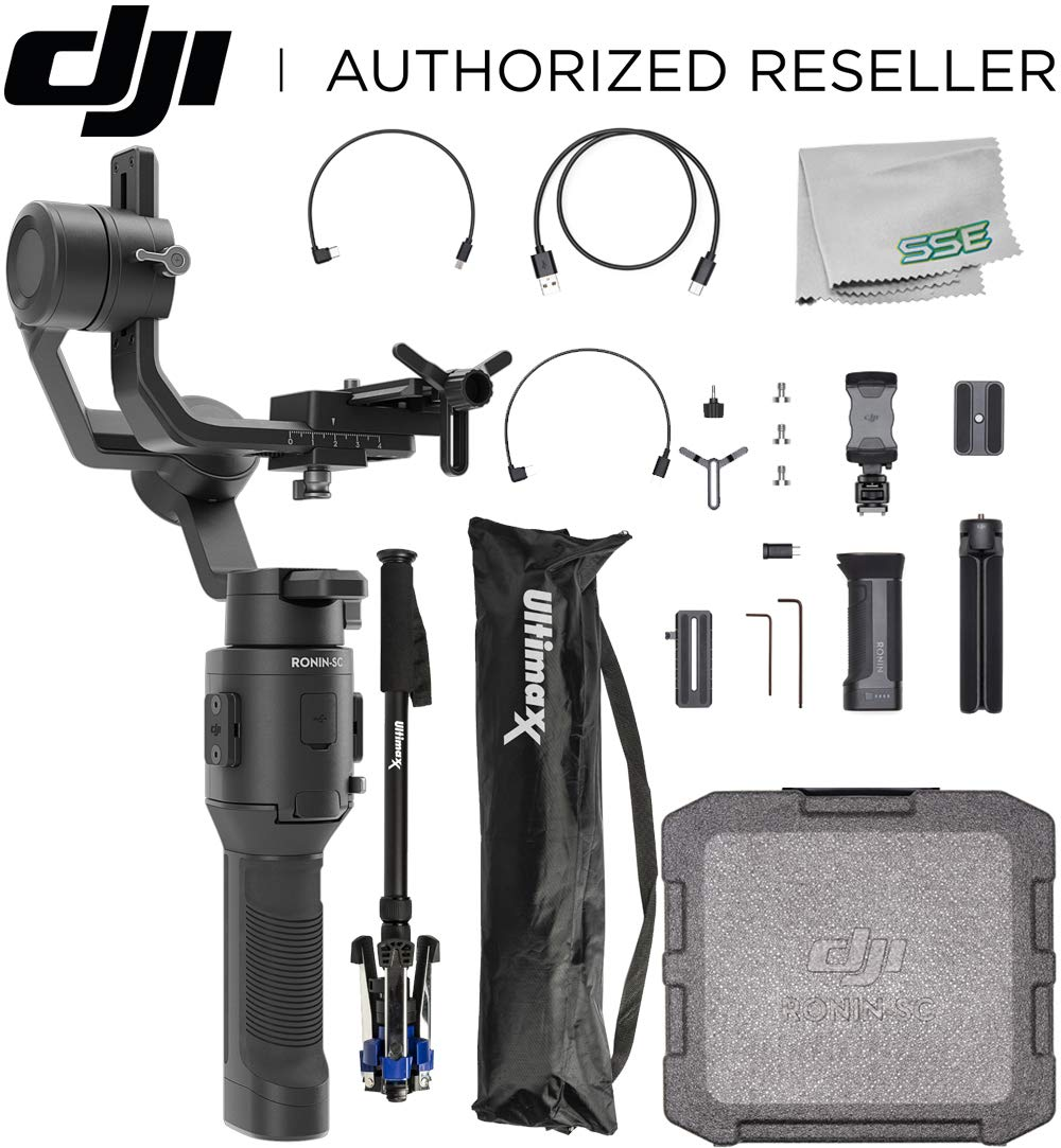 DJI 2019 Ronin-SC Compact Stabilizer 3-Axis Gimbal Handheld Stabilizer (Loki) for Mirrorless Camera Videographer Bundle - CP.RN.00000040.01 by DJI