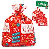 Large Christmas Gift Bags - Set of 4 Xmas Present 36'x44' Jumbo Extra Large Gift Bags Wrapping - Plastic Giant Gift Bags for Huge Gifts - Heavy Duty Big Gift Sack Set with Tags & String Ties