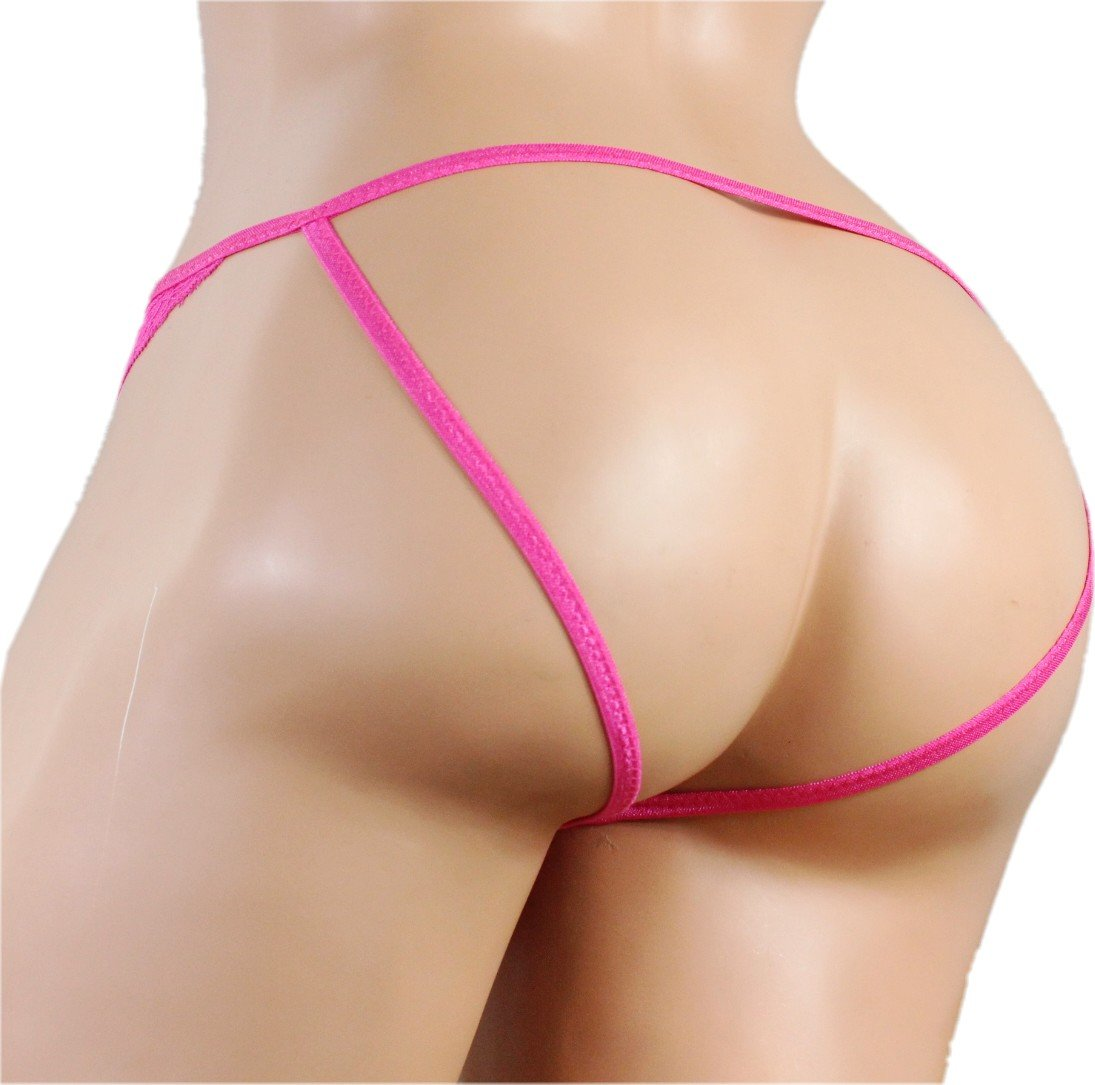 SISSY pouch panties silky lace mooning men's bikini briefs underwear sexy for men ---(Pink,XXXL)