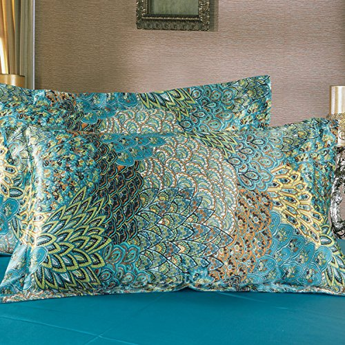 Fadfay Home Textile Peacock Feather Bedding Set Peacock