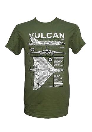 238fd6f5e The Wooden Model Company Ltd Avro Vulcan Heavy Bomber - Falklands War/Green  Military T Shirt with Blueprint Design: Amazon.co.uk: Clothing