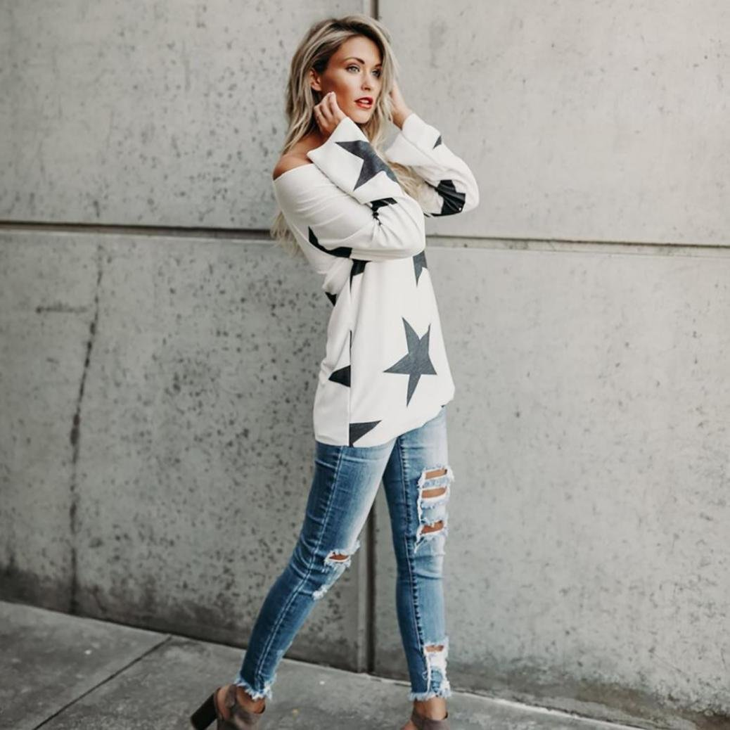 Amazon.com : HOSOME Women Top Women Girl Strapless Star Sweatshirt Long Sleeve Crop Jumper Pullover Tops : Grocery & Gourmet Food
