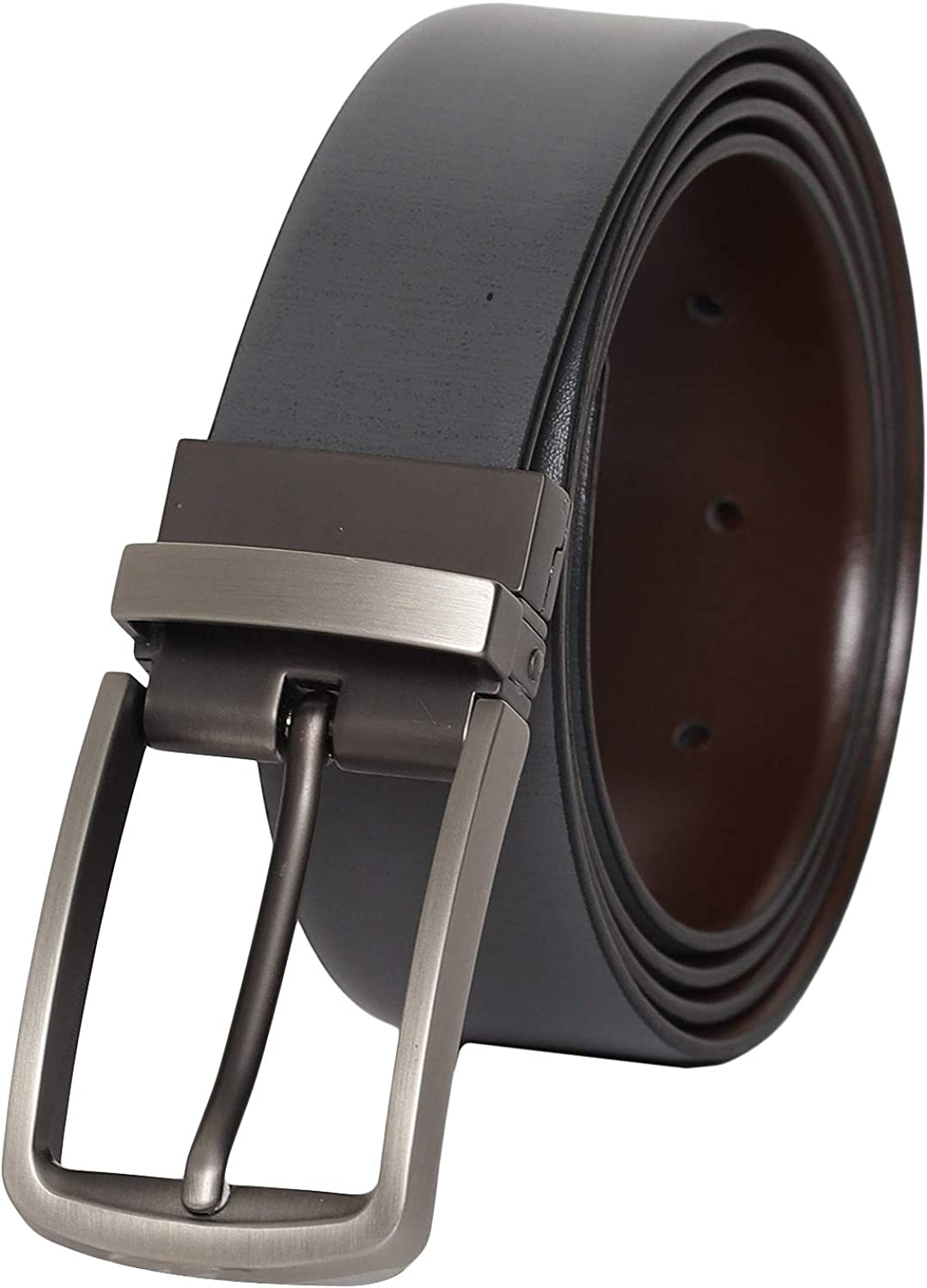 Otuoro Mens Handmade Grey and Brown imported Leather Belt with matt finish Buckle