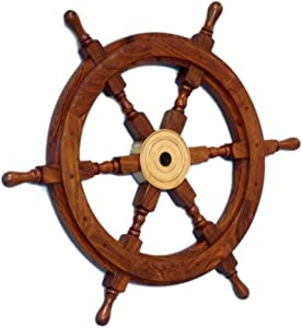 "Hampton Nautical Deluxe Class Wood and Brass Decorative Ship Wheel 18"" - Nautical Home Decoration Gifts"
