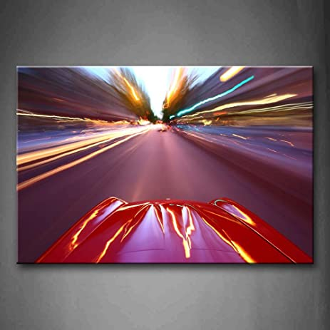 Amazon.com: First Wall Art - Bright Red Car And Exciting Scenic Wall ...