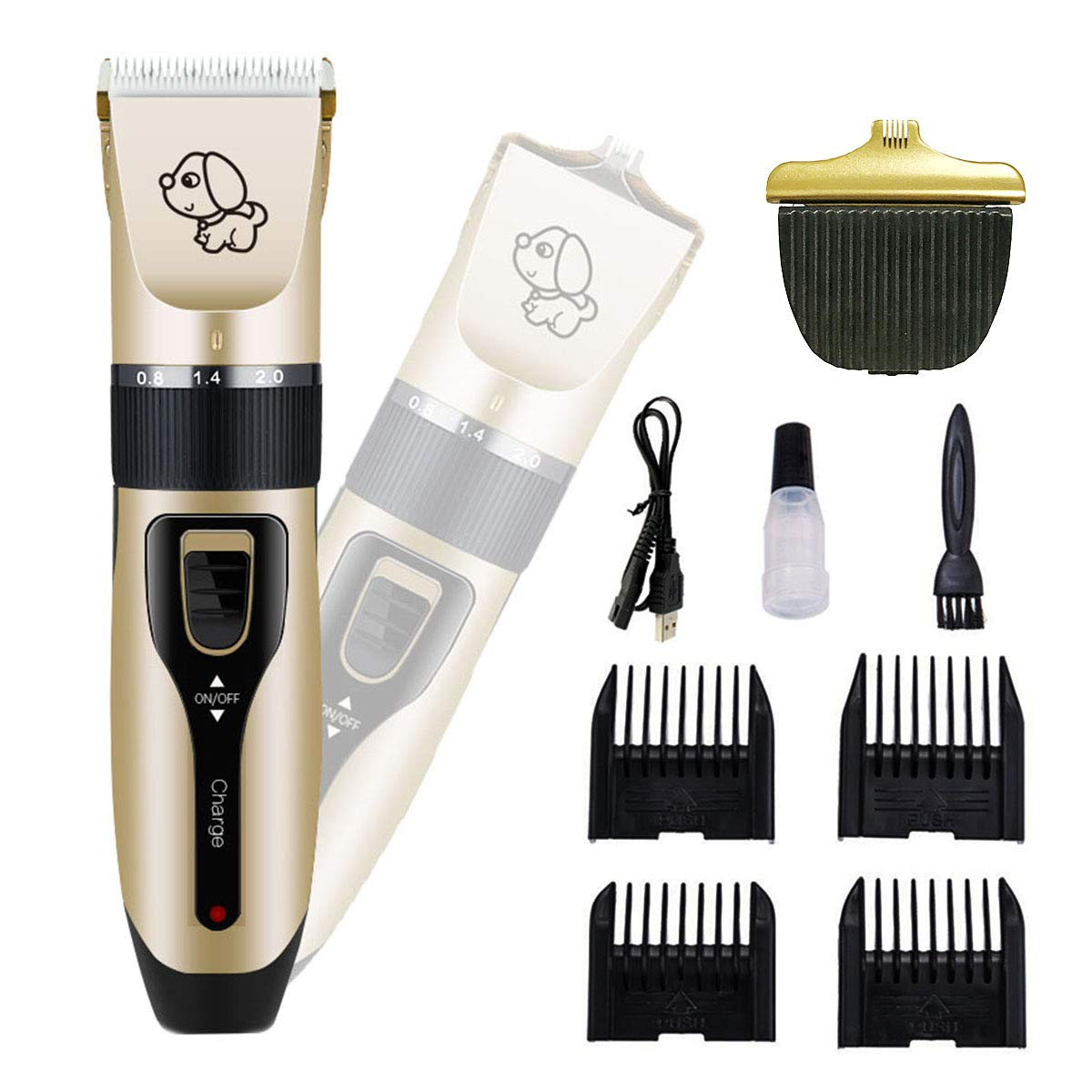 PetAZ Dog Grooming Clippers Professional Dog Clippers Two Kinds of Replaceable Blades Shaver Rechargeable and Cordless Pet Clippers Suitable Dogs, Cats and Other Animals, Face, Eyes, Ears, Paw, Aroun