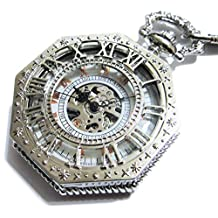 Steampunk Silver White Octagon Skeleton Mechanical Pocket Watch Chain- Rose Gold Roman Numerals Dial