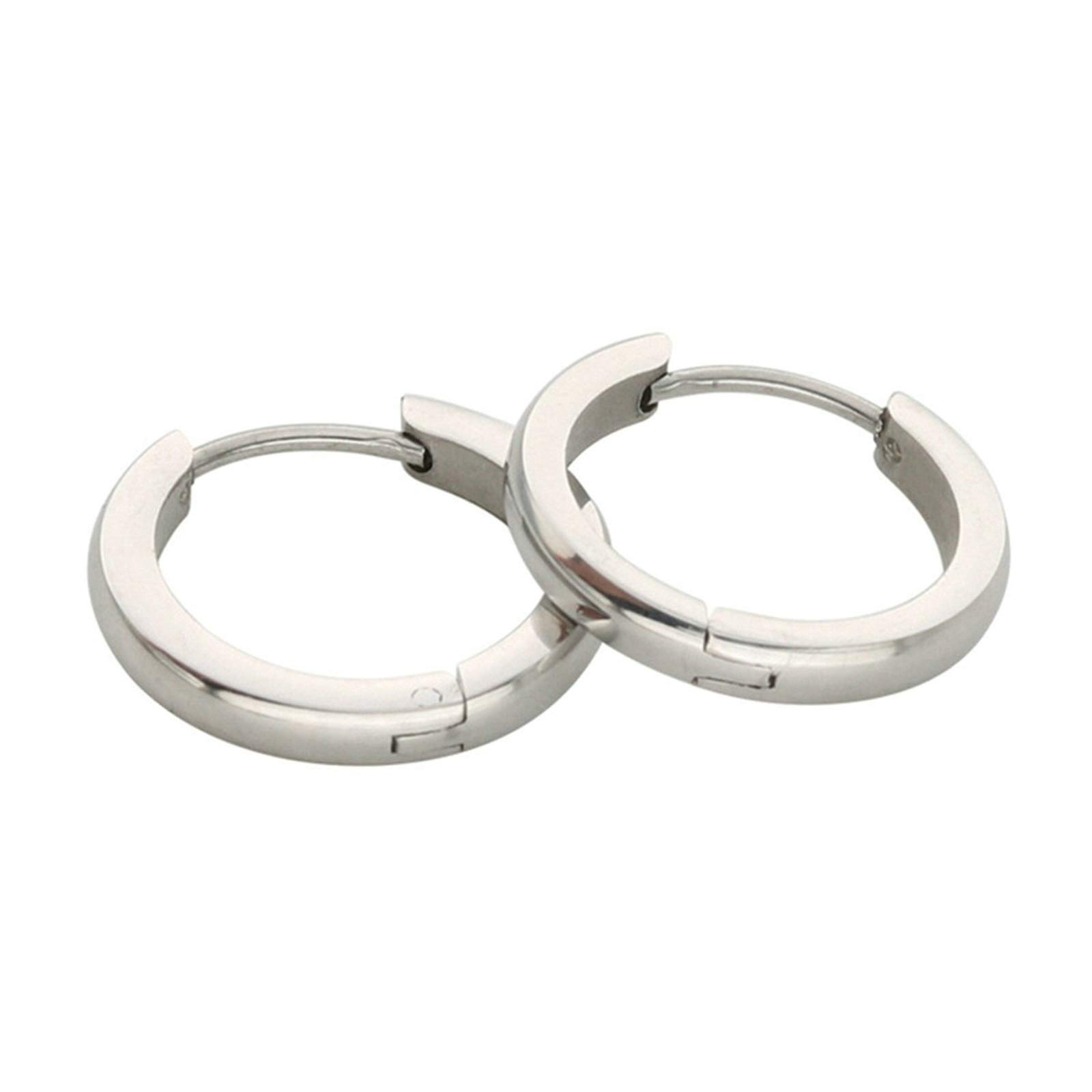 Aokarry Surfical Steel Huggie Earrings 2PCS 316L Wide 2MM Small For Cartilage 7MM Silver