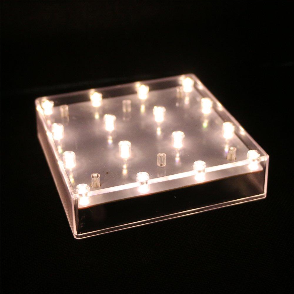 ARDUX 5インチスクエア16 LEDバッテリータイプの台座の花瓶のベースライト、結婚式のテーブルセンターピースの装飾花瓶のイルミネーション(1個入、暖かい白) B075JZQCTV 11999 1個入|暖かい白 暖かい白 1個入