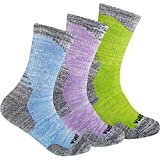 YUEDGE 3 Pairs Women's Cushion Crew Socks Outdoor Recreation Multi Performance Trekking Climbing Camping Hiking Walking Socks (L)