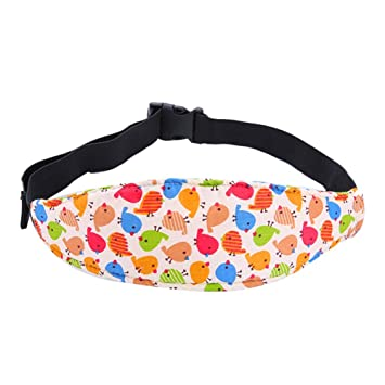 Kids Toddler Car Seat Fastening Belt Sleep Safety Strap Cute Neck Protection Belt Blue Monkey Baby Head Support