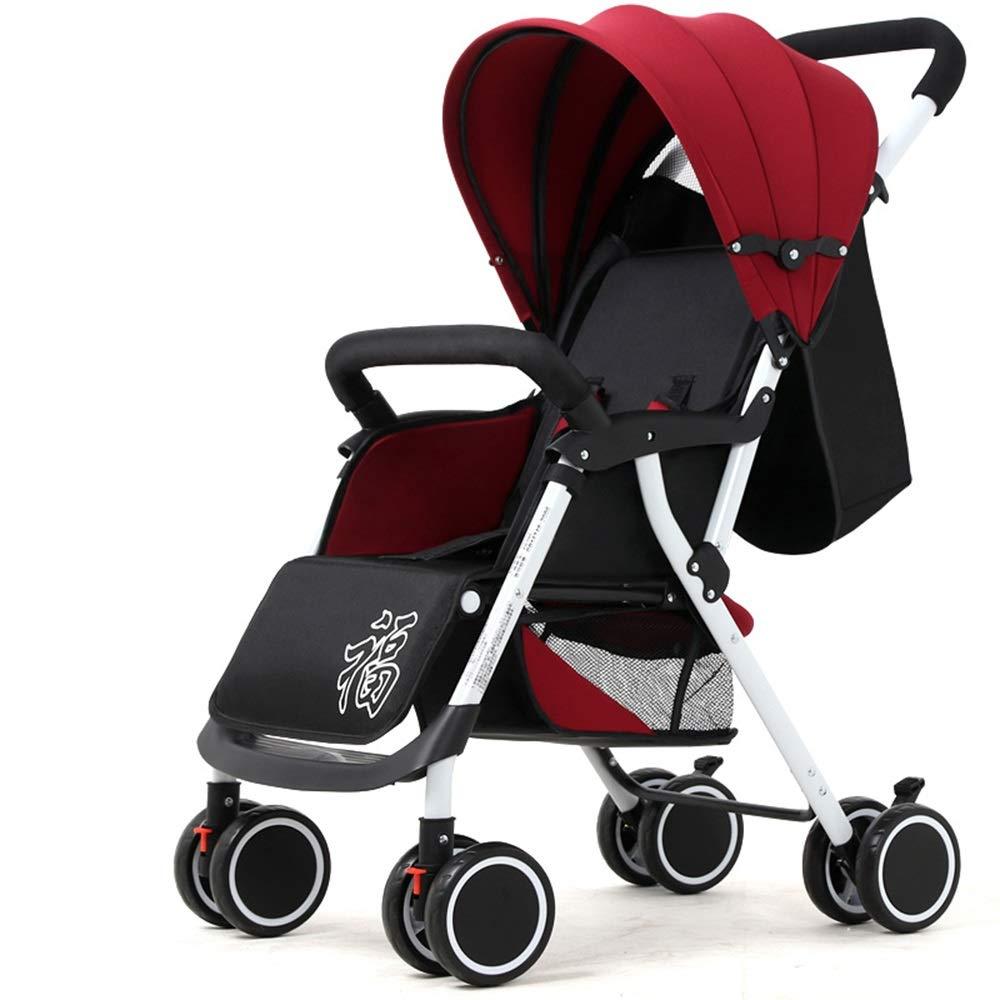 赤ちゃんのベビーカーはリクライニング軽量折りたたみ四輪衝撃新生児のベビーカーに座ることができます (色 : ワインレッド)  ワインレッド B07G7R98TT