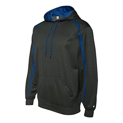 Badger Mens Fusion Colorblock Hooded Pullover-1467-MD-Carbon-Royal